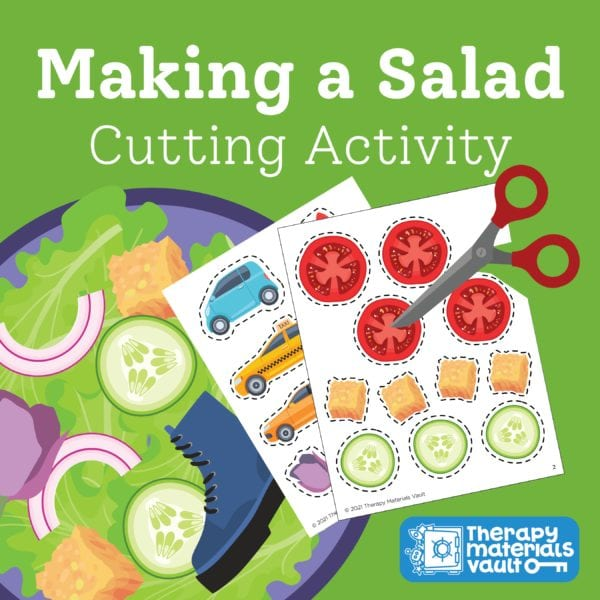 Making a Salad Cutting and Tearing Activity