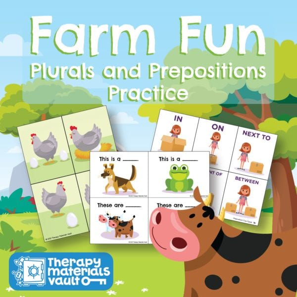 Plurals and Prepositions Speech Therapy Activity